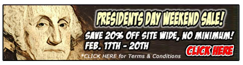 PRESIDENTS DAY WEEKEND SALE 20% OFF SITE WIDE!