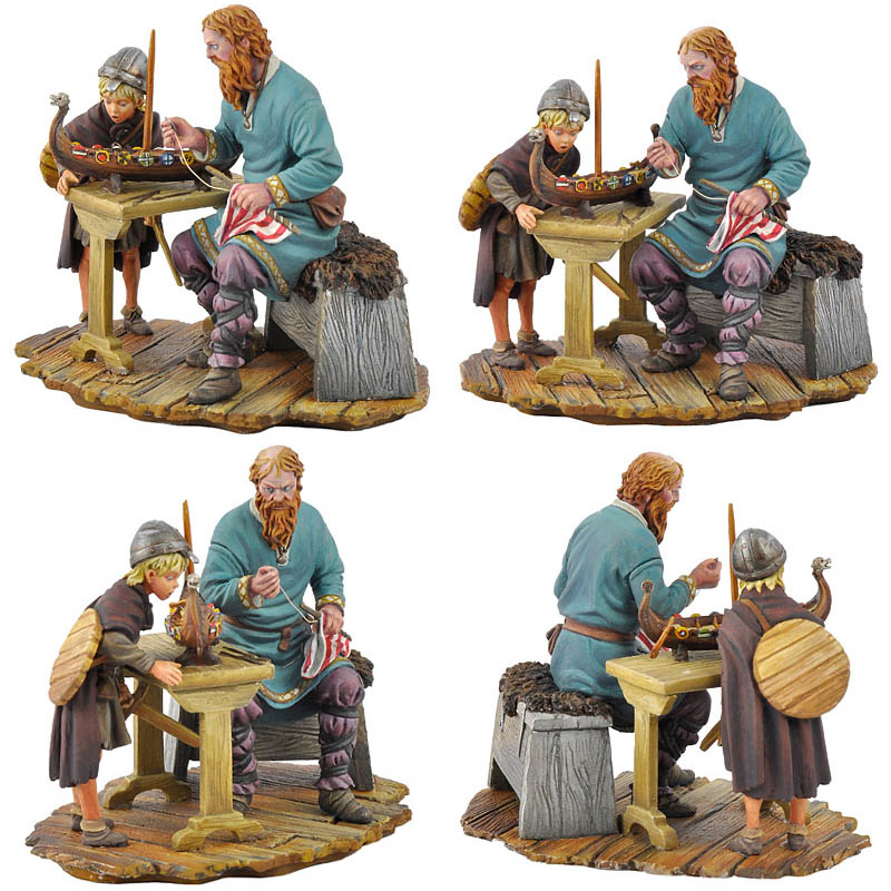 Two Generations, Father And Son W/ Model Viking Ship   54mm   The Vikings  (x1 Fig)