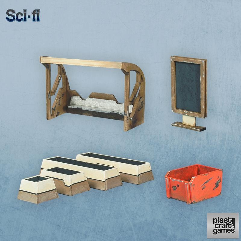 Urban Elements Pack - 28mm Plast Craft Sci-Fi Terrain (x1 kit)